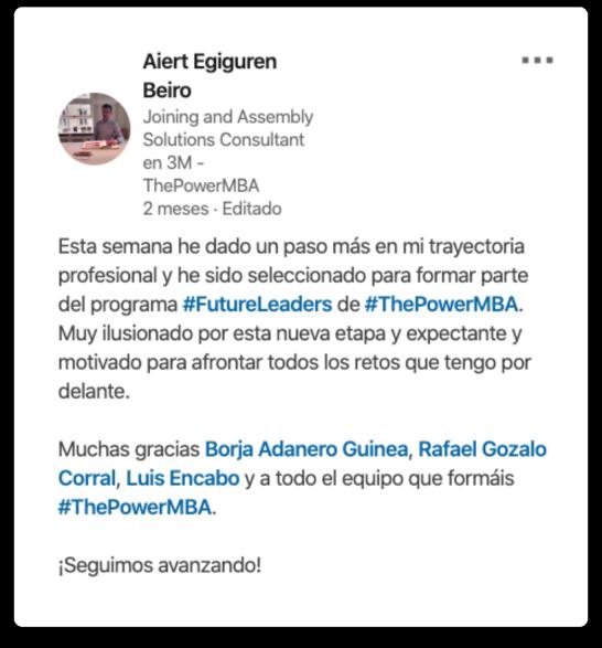 opinión de Aiert sobre el Master Future Leaders