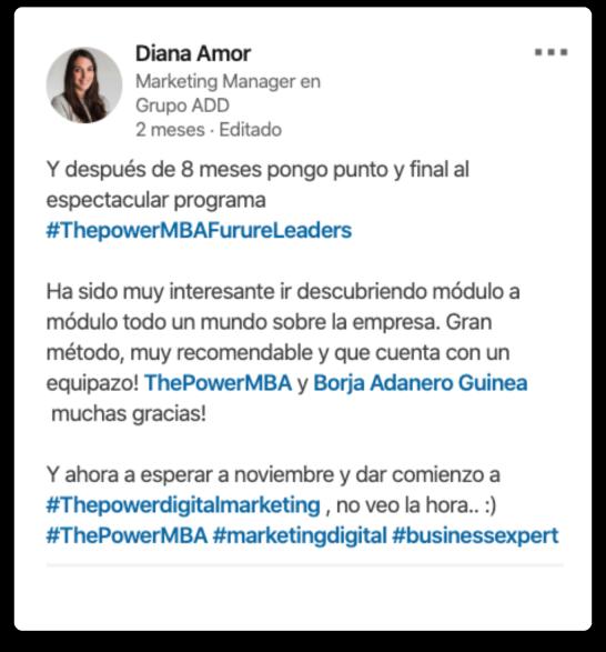 opinión de Diana sobre el Master Future Leaders