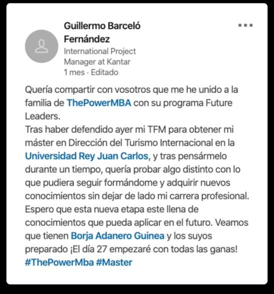 opinión de Guillermo sobre el Master Future Leaders