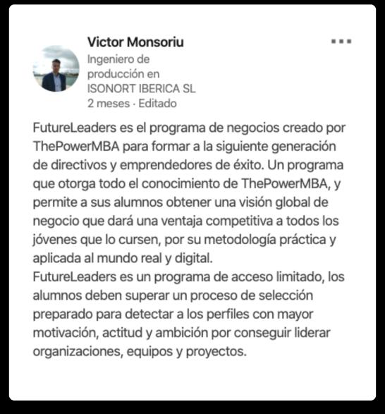 opinión de Victor sobre el Master Future Leaders