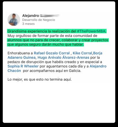 opinión de Alejandro sobre el Master ThePowerMBA y Digital Marketing