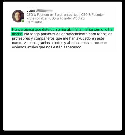 opinión de Juan sobre el Master ThePowerMBA y Digital Marketing