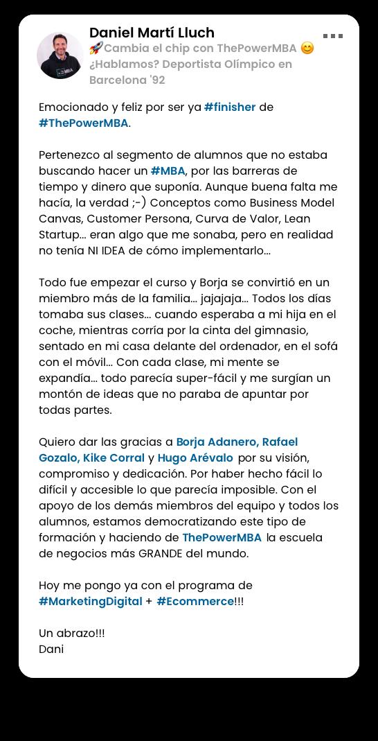 opinión de Javier sobre el Master ThePowerMBA y Digital Marketing