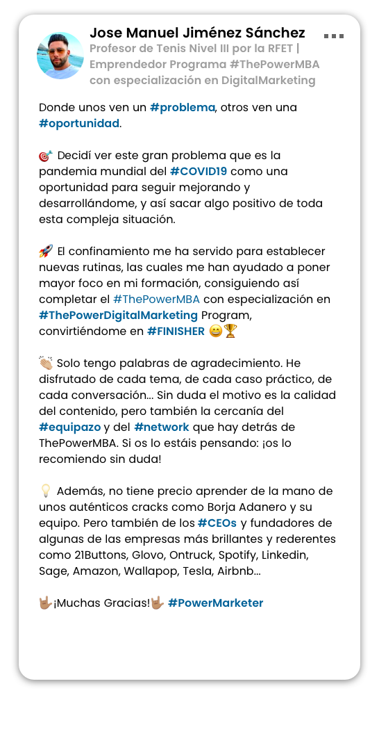 opinión de Zuleyka sobre el Master ThePowerMBA y Digital Marketing