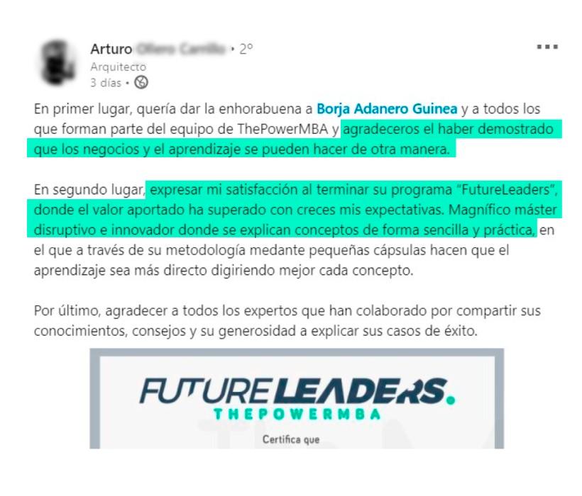 opinión de Arturo sobre Future Leaders