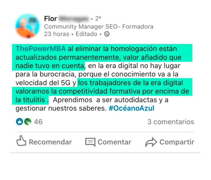 opinión de Flor sobre ThePowerMBA