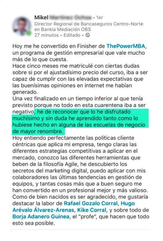 opinión de Mikel sobre ThePowerMBA