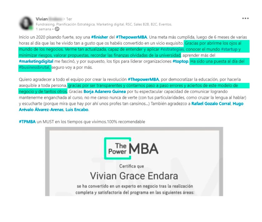 opinión de Vivian sobre ThePowerMBA