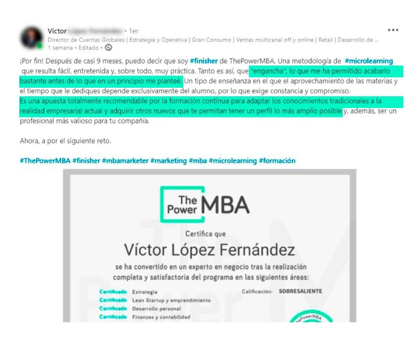 opinión de Victor sobre ThePowerMBA